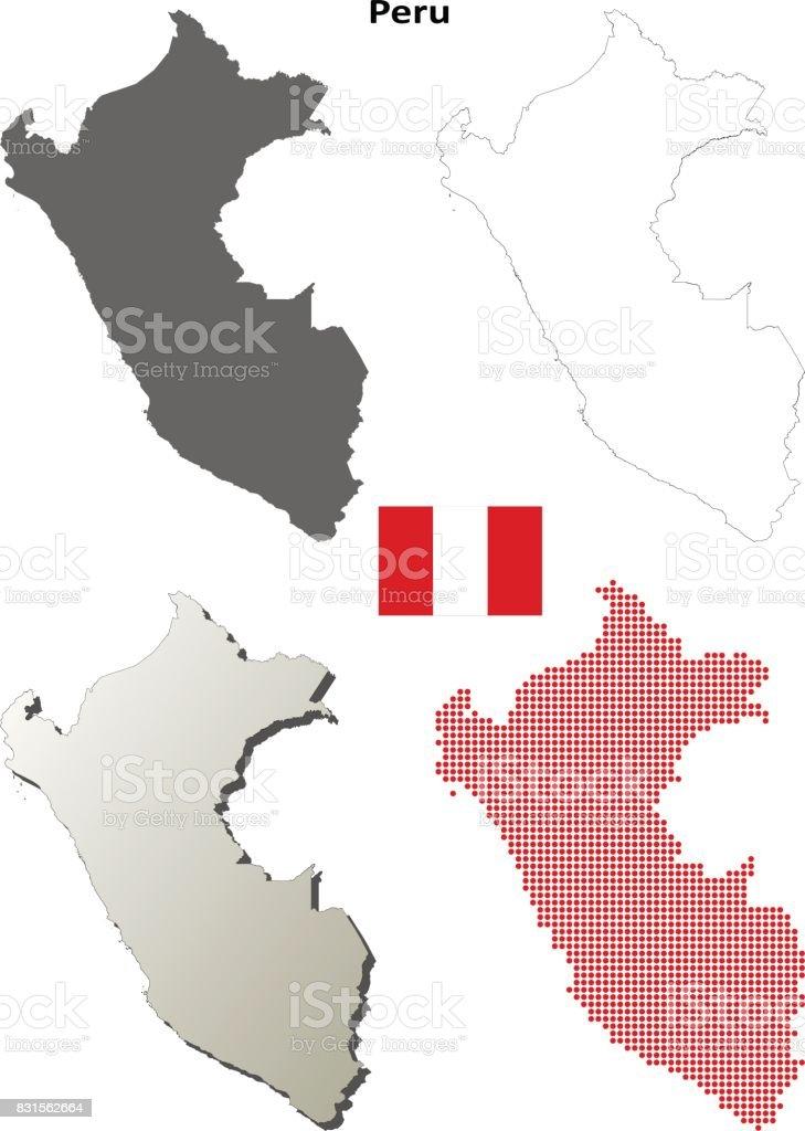 Peru Karte Umriss.Peruumrisskarte Gesetzt Stock Vektor Art Und Mehr Bilder Von
