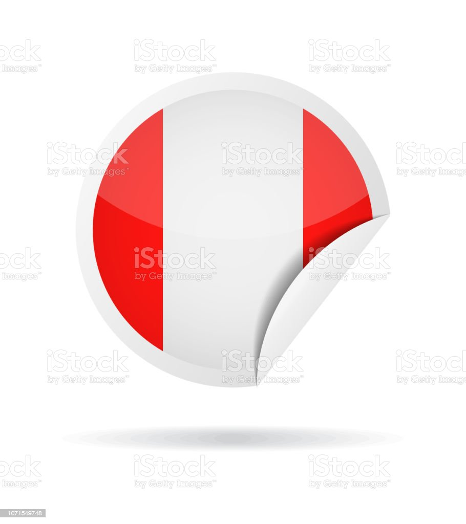 Pérou - rond papier coin drapeau Vector Glossy Icon - Illustration vectorielle