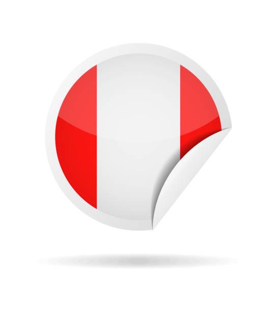 ilustrações, clipart, desenhos animados e ícones de peru - redonda papel canto ícone vector bandeira brilhante - bandeira do peru