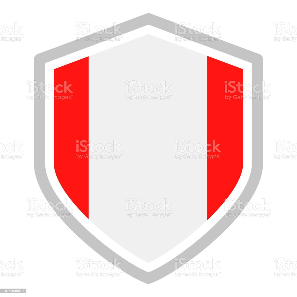 Peru - Shield Flag Vector Flat Icon vector art illustration