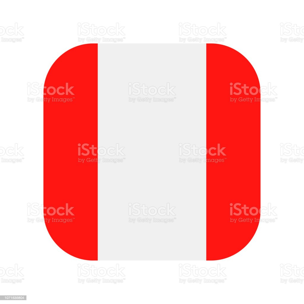 Peru - Square Flag Vector Flat Icon vector art illustration