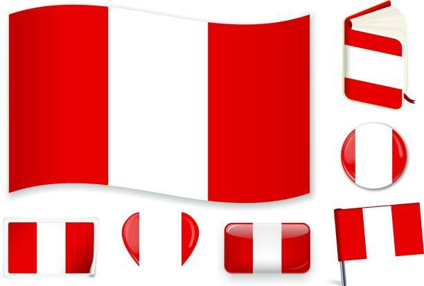 ilustrações, clipart, desenhos animados e ícones de peru_flag - bandeira do peru