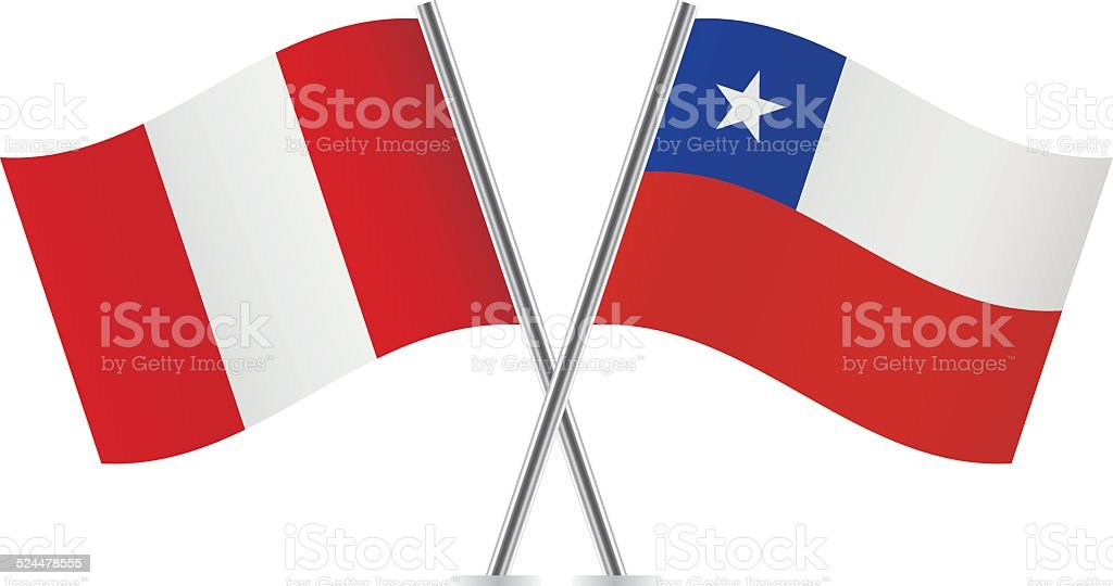 Peruvian and Chilean flags. Vector. vector art illustration