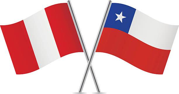 ilustrações, clipart, desenhos animados e ícones de peruana e o chileno flags. vetor. - bandeira do peru