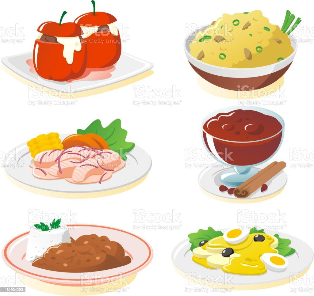 Peruvian dishes vector art illustration