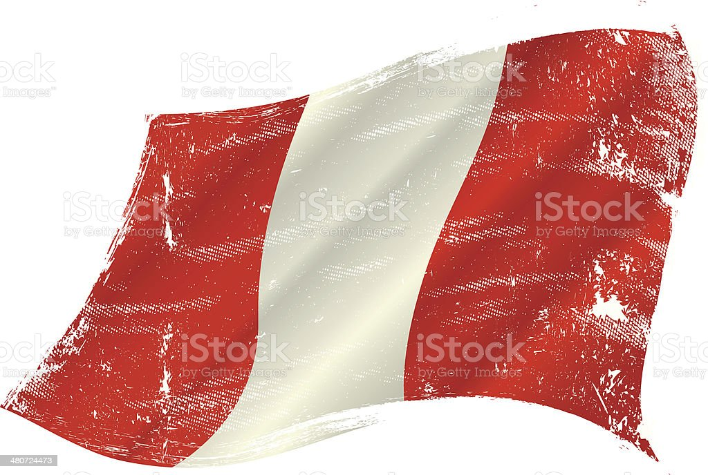 Peruvian grunge flag vector art illustration