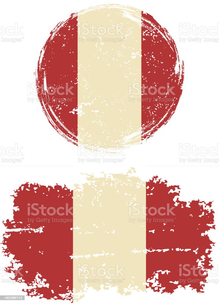 Peruvian round and square grunge flags. Vector illustration vector art illustration