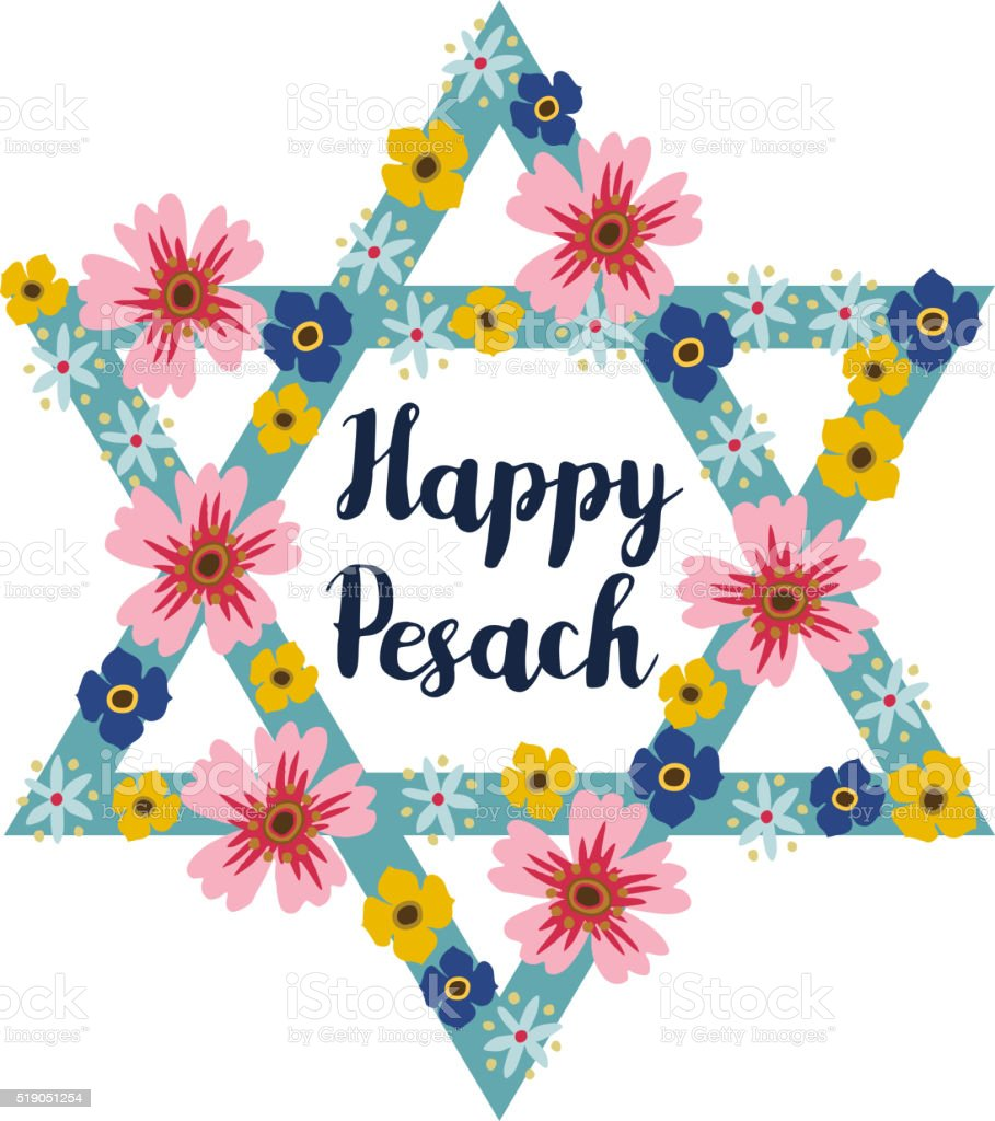 Pesach Passover greeting card with jewish star and flowers vector art illustration