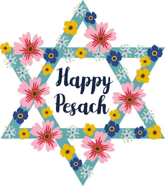 pesach passover greeting card with jewish star and flowers - passover stock illustrations, clip art, cartoons, & icons