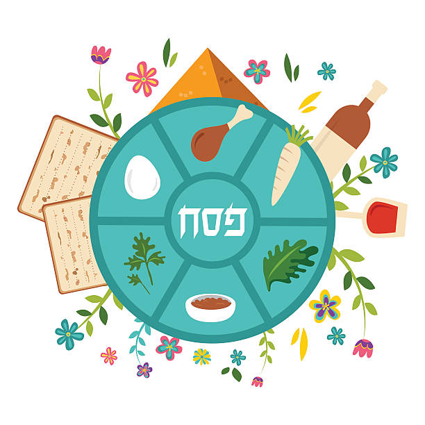 pesach seder plate with floral decoration, passover in hebrew the - passover stock illustrations, clip art, cartoons, & icons