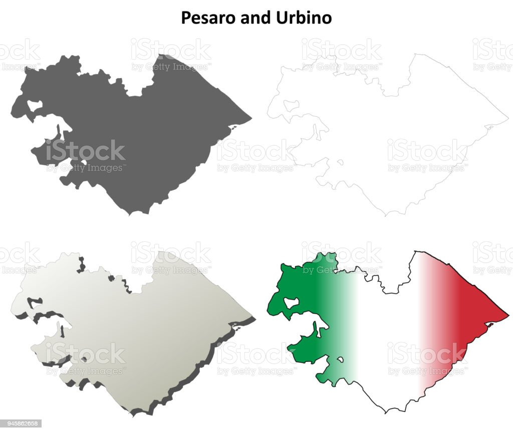 Pesaro And Urbino Blank Detailed Outline Map Set Stock Vector Art