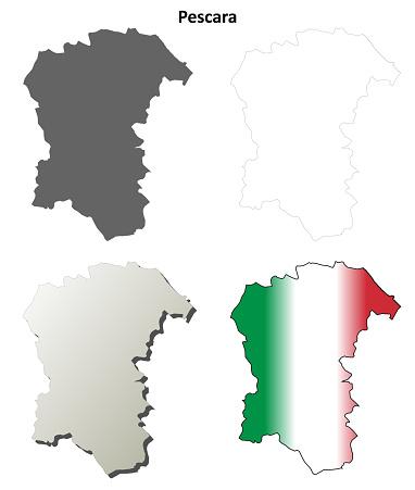 Pescara blank detailed outline map set