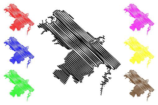 Pescara City (Italian Republic, Italy, Abruzzo) map vector illustration, scribble sketch City of Pescara map