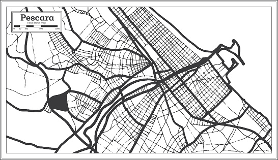 Pescara Italy City Map in Black and White Color in Retro Style. Outline Map.