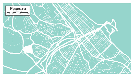 Pescara Italy City Map in Retro Style. Outline Map.