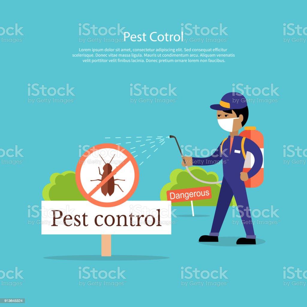 Pest Control Banner Design Flat vector art illustration