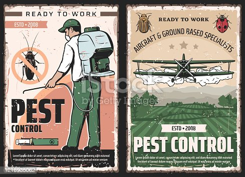 Pest control vector design of insect and bug protection service. Exterminator with insecticide or pesticide sprayer and cockroach chalk, agricultural aircraft dusting crop, colorado beetle and ladybug