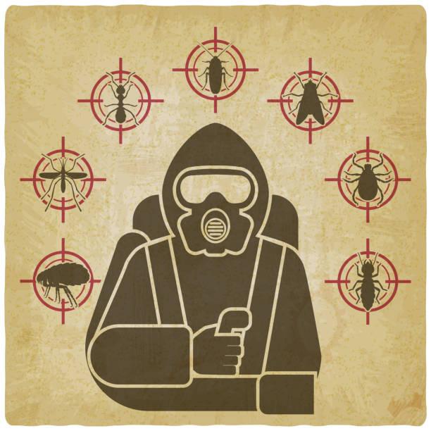 schädlingsbekämpfung exterminator in schutzanzug silhouette umgeben von insektenschädling ikonen auf vintage-hintergrund - mückenfalle stock-grafiken, -clipart, -cartoons und -symbole