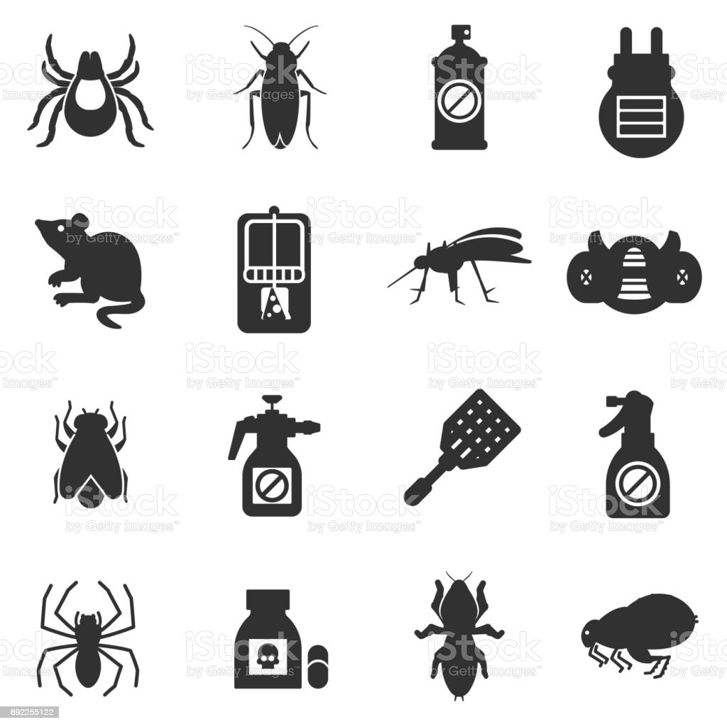 pest control, exterminators icons set vector art illustration