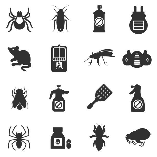 pest control, exterminators icons set - bugs stock illustrations, clip art, cartoons, & icons