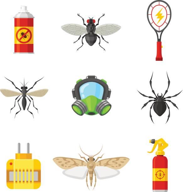 pest control flache icon-set - mückenfalle stock-grafiken, -clipart, -cartoons und -symbole