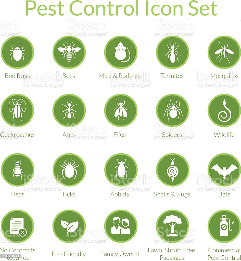 Pest Control Icon set vector art illustration
