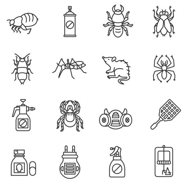 illustrazioni stock, clip art, cartoni animati e icone di tendenza di pest control icon set. - trappola per topi