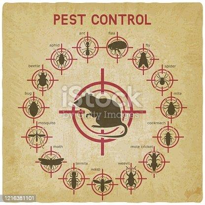 Pest Control icons set on red target vintage background. Vector illustration