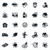 Icons related to the pest control or exterminator industry. The icons include different bugs, pests, exterminators and other related symbols.