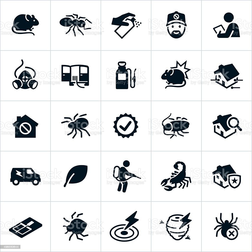 Pest Control Icons vector art illustration