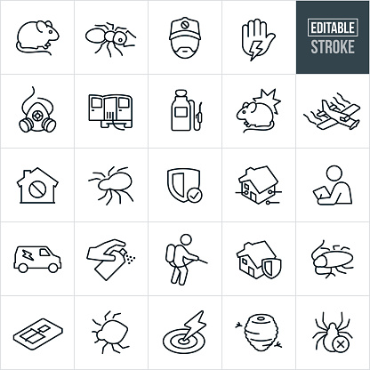 Pest Control Line Icons - Editable Stroke