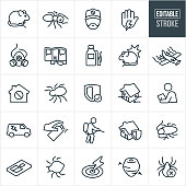 A set of pest control icons that include editable strokes or outlines using the EPS vector file. The icons include exterminators, pests, bugs, spiders, cockroach, bed bug, mouse, rat, ant and bug spray to name a few.