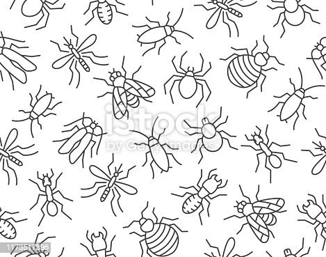 Pest control seamless pattern with flat line icons. Insects background - mosquito, spider, fly, cockroach, ant, termite vector illustrations for extermination service.