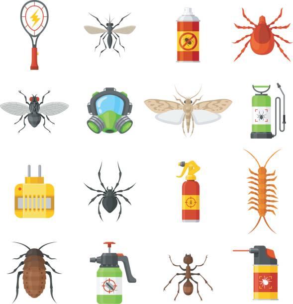 pest control-vektor-icons auf weißem hintergrund - mückenfalle stock-grafiken, -clipart, -cartoons und -symbole