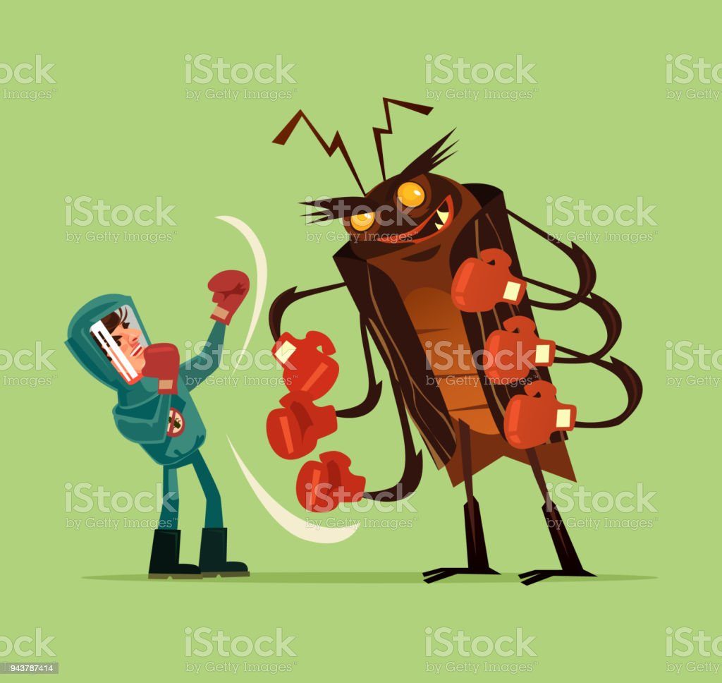 Pest insect control man worker fighter character fight wth big huge monster bug gnat termite. Extermination mosquito service concept. Vector flat cartoon graphic design isolated illustration vector art illustration