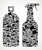 Pesticide Sprays Farming and Agriculture Black Icon Pattern . The black vector icons create a seamless pattern and include popular farming and agriculture. This black and white icon patter inclides: Farm house, farm animals, fruits and vegetables and seasonal food items. The icons are carefully arranged on a light background and vary in size.