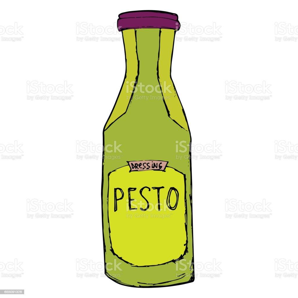 Pesto jar. Hand drawn sketch illustration. Pesto bottle Isolated on white. vector art illustration