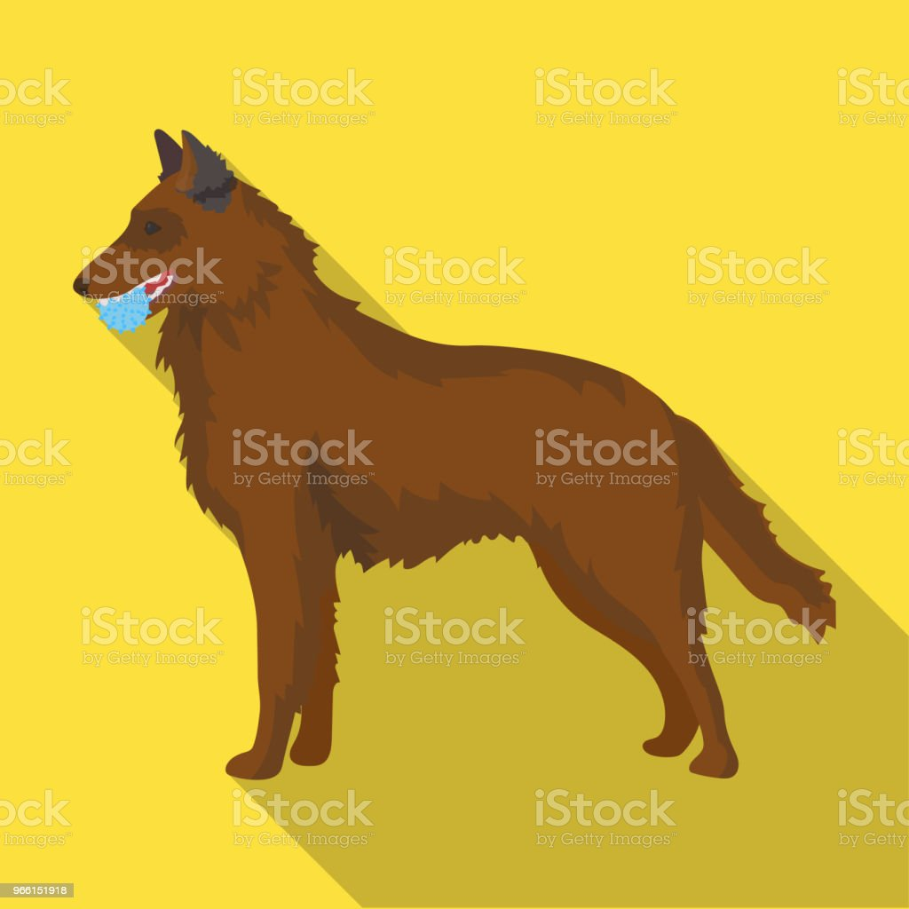 A pet, a dog with a ball in his teeth, a German shepherd. Pet ,dog care single icon in flat style vector symbol stock illustration web. - arte vettoriale royalty-free di Animale
