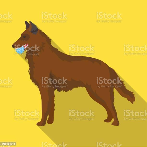 Un Animale Domestico Un Cane Con Una Palla Tra I Denti Un Pastore Tedesco Pet Dog Care Singola Icona In Stile Piatto Simbolo Vettoriale Stock Illustrazione Web - Immagini vettoriali stock e altre immagini di Animale