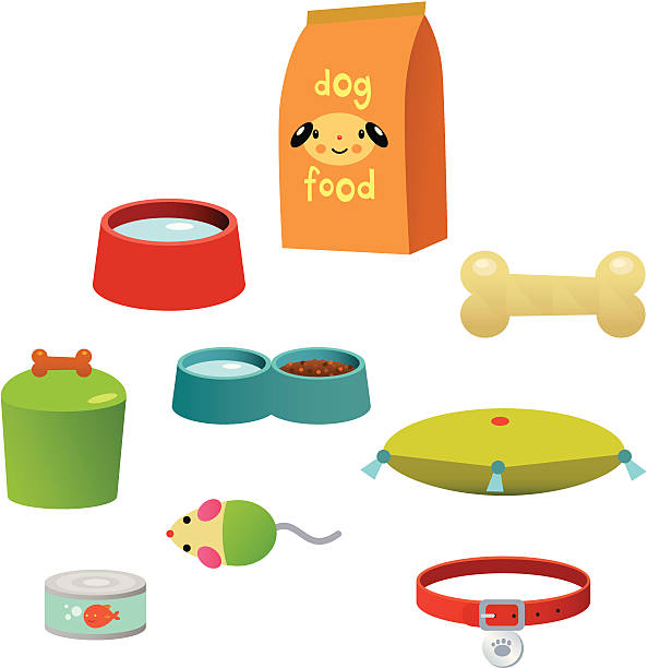 ilustrações de stock, clip art, desenhos animados e ícones de acessórios de animal de estimação - dog food