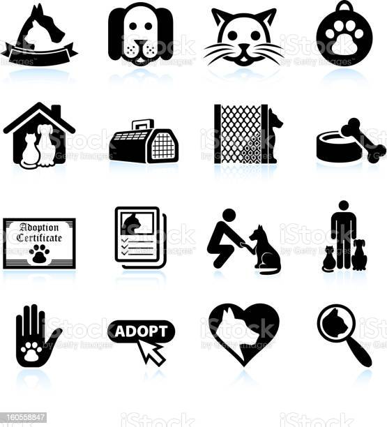 Pet adoption black and white royalty free vector icon set vector id160558847?b=1&k=6&m=160558847&s=612x612&h=chn29irb75tbbvqlwyrboxqjzsgl81yhjr1xny fxts=