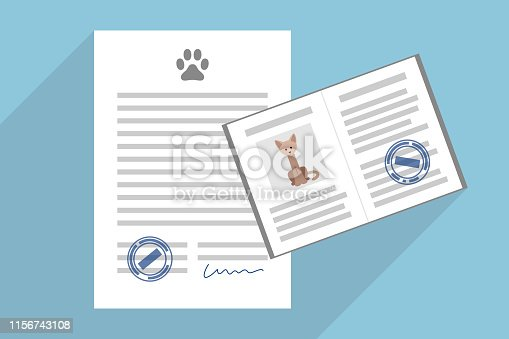 Signed pet adoption or sale agreement, and pet passport with cat photo inside
