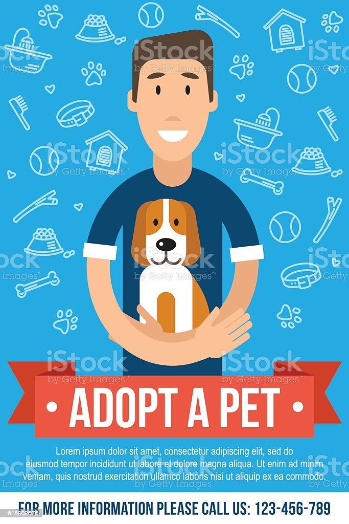 Pet adoption poster vector art illustration