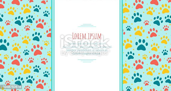 pet advertising banner templates. Place for text. veterinary clinic and zoo shop. Design layout grooming. paw ornament