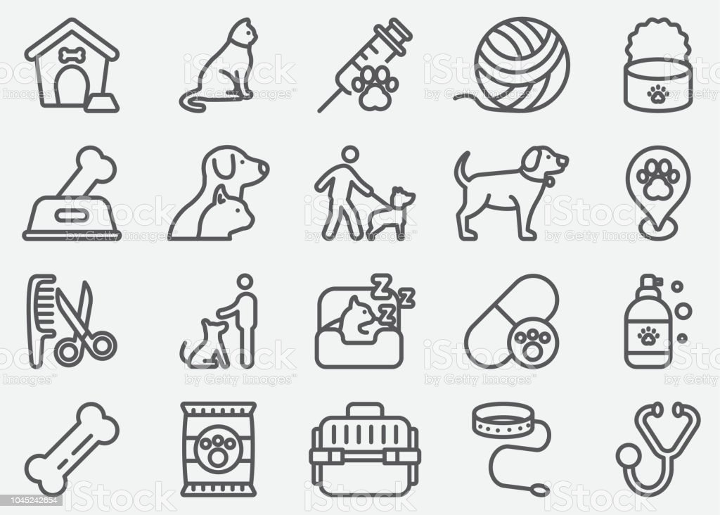 Pet and Animal Line Icons vector art illustration