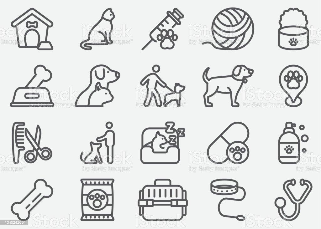 PET y los iconos de la línea Animal - ilustración de arte vectorial
