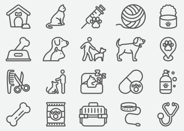 pet and animal line icons - pets stock illustrations, clip art, cartoons, & icons