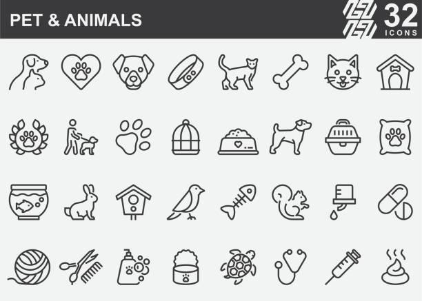 ilustraciones, imágenes clip art, dibujos animados e iconos de stock de iconos de línea de mascotas y animales - mascota