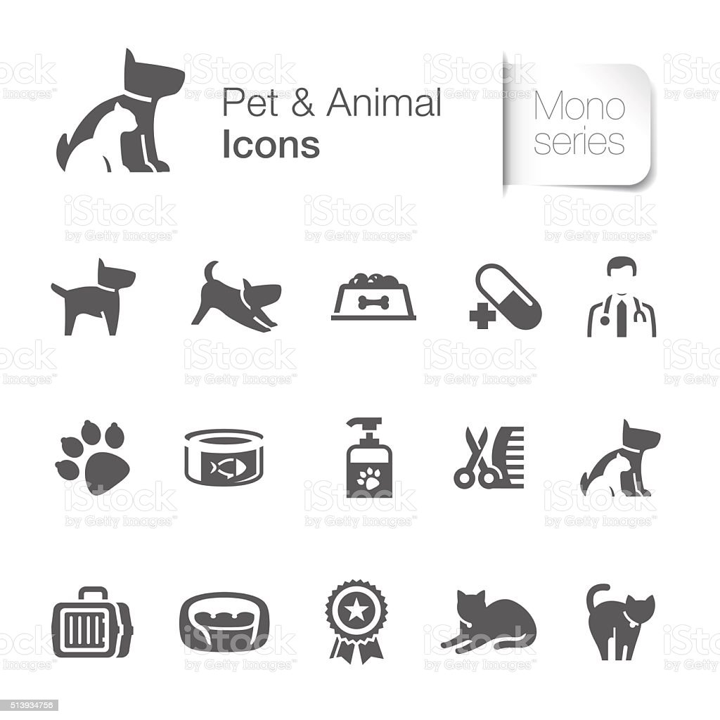 Pet & animal related icons vector art illustration