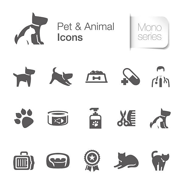 stockillustraties, clipart, cartoons en iconen met pet & animal related icons - dierenziekenhuis